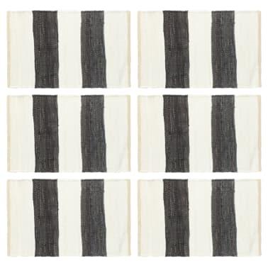 vidaXL Stalo kilimėliai, 6vnt., antrac.+baltų dryžių, 30x45cm, chindi[1/5]