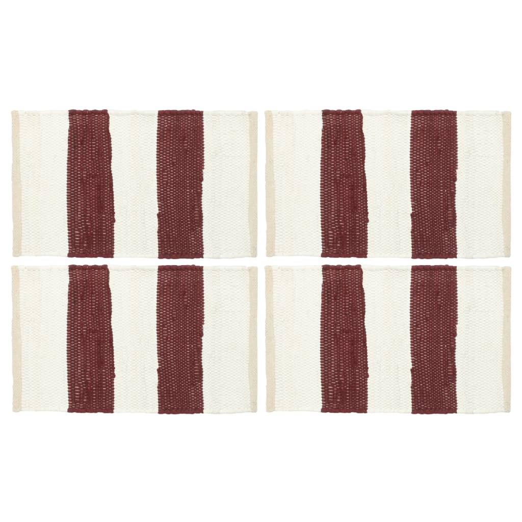 vidaXL Naproane, 4 buc., chindi, dungi grena și alb, 30 x 45 cm imagine vidaxl.ro