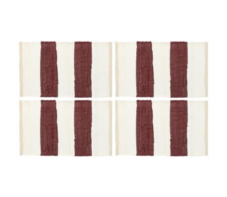 vidaXL Подложки за хранене 4 бр Chindi ивици бордо и бяло 30x45 см