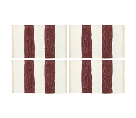 vidaXL dækkeservietter 4 stk. 30 x 45 cm chindi stribet bordeaux/hvid