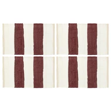 vidaXL Prestierania 4 ks chindi prúžkované vínové a biele 30x45 cm[1/5]