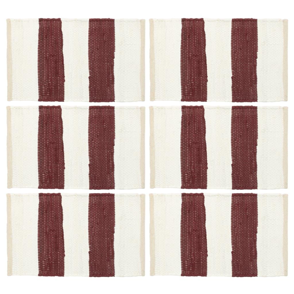 vidaXL Naproane, 6 buc., chindi, dungi grena și albe, 30 x 45 cm imagine vidaxl.ro