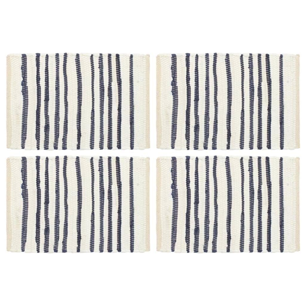 Prostírání 4 ks modré a bílé 30 x 45 cm bavlna