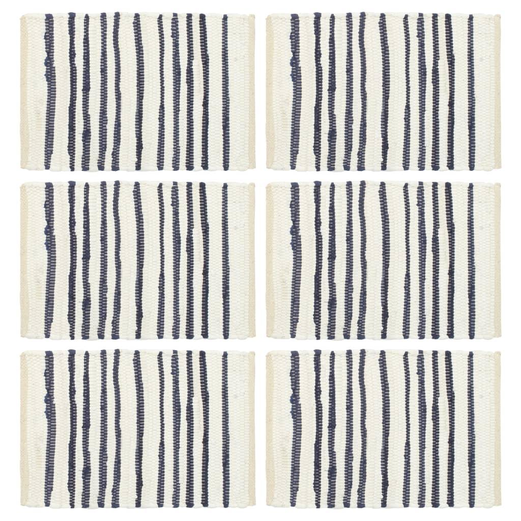 vidaXL Prostírání 6 ks modré a bílé 30 x 45 cm bavlna