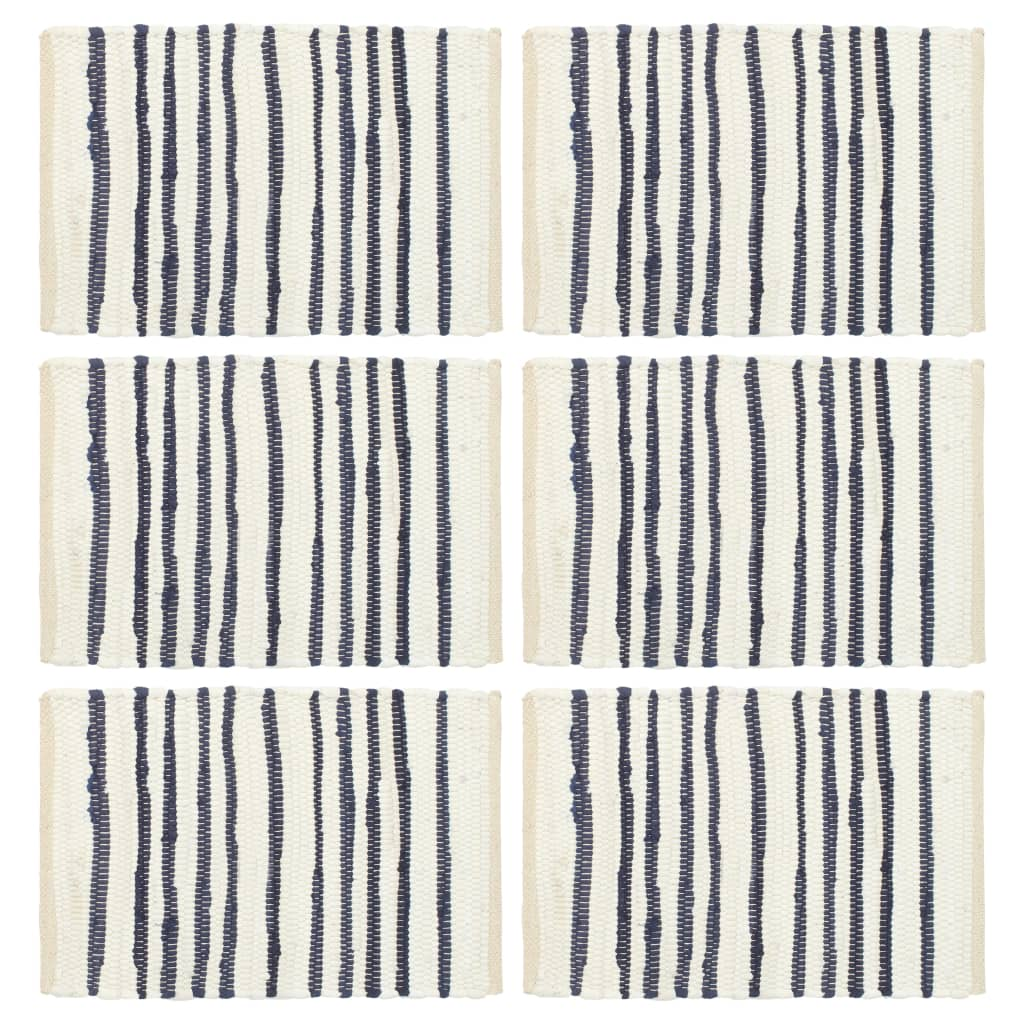 vidaXL Naproane, 6 buc., albastru și alb, 30 x 45 cm, bumbac imagine vidaxl.ro