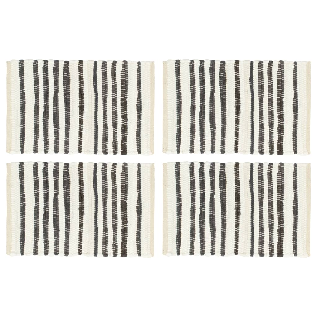 vidaXL Naproane, 4 buc., antracit și alb, 30 x 45 cm, bumbac vidaxl.ro