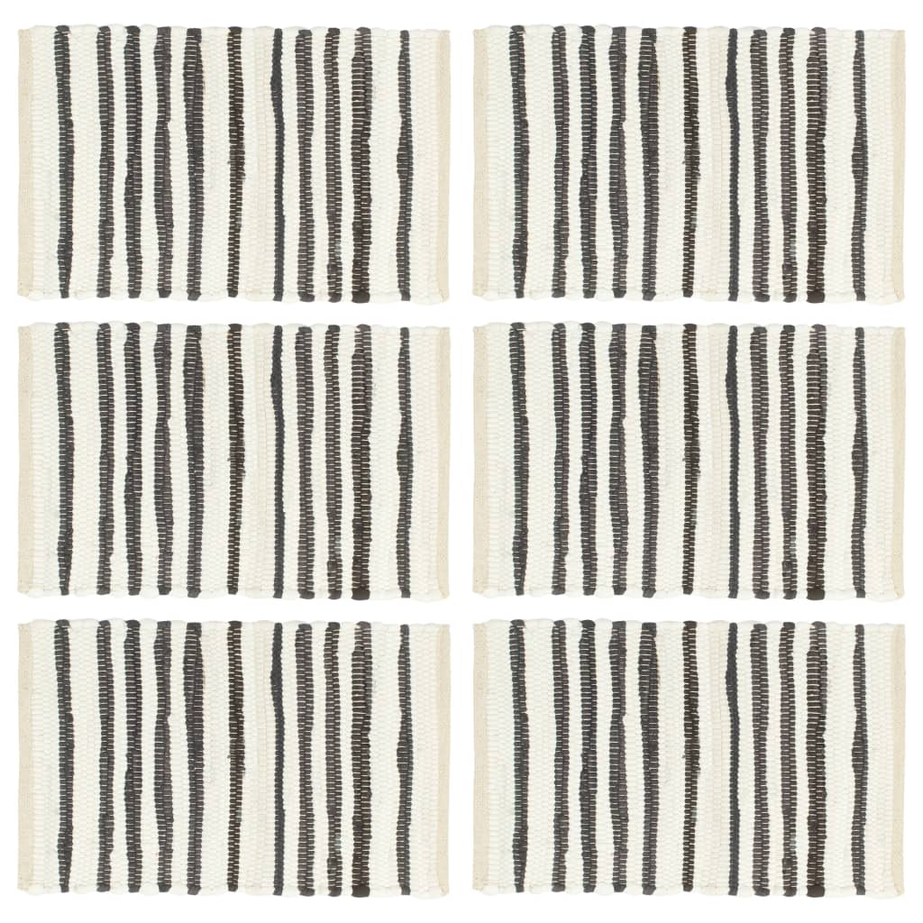 vidaXL Naproane, 6 buc., antracit și alb, 30 x 45 cm, bumbac imagine vidaxl.ro