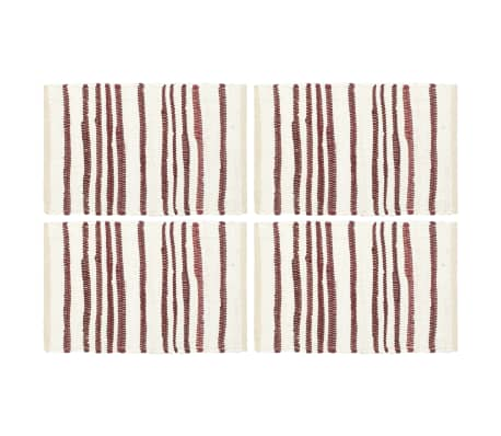 vidaXL Manteles individuales 4 uds algodón burdeos y blanco 30x45 cm