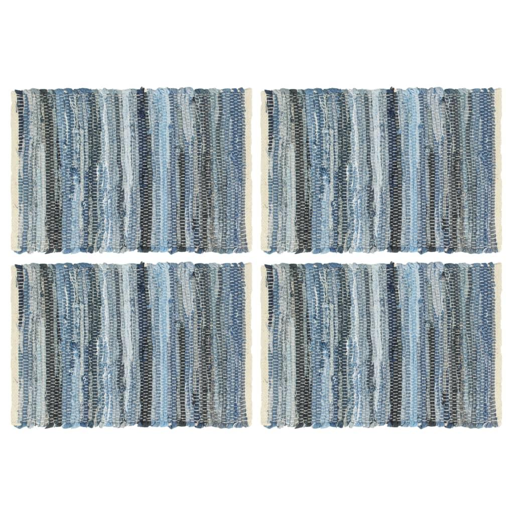 vidaXL Prostírání 4 ks chindi džínová modrá 30 x 45 cm bavlna