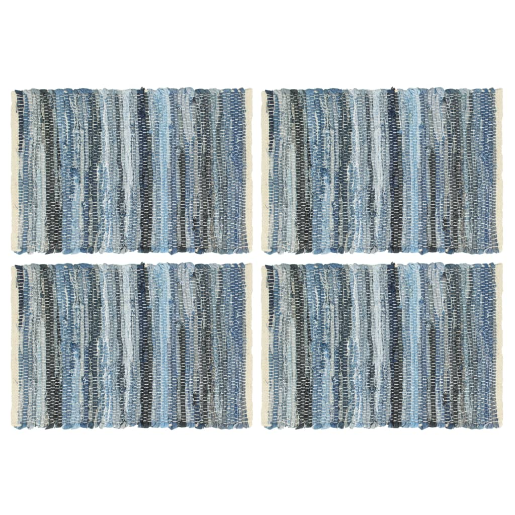 vidaXL Naproane, 4 buc., chindi, albastru denim, 30 x 45 cm, bumbac imagine vidaxl.ro