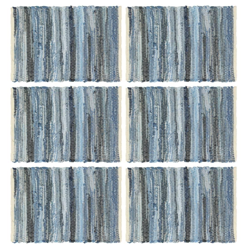 vidaXL Naproane, 6 buc., chindi, albastru denim, 30 x 45 cm, bumbac imagine vidaxl.ro