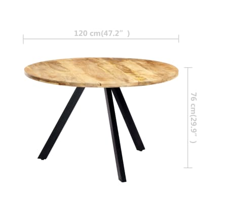vidaXL Jedilna miza 120x73 cm trden mangov les[6/10]