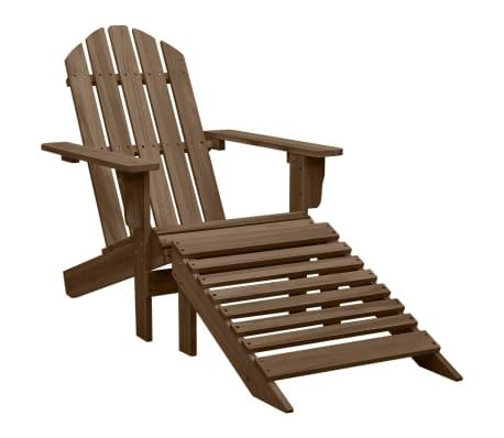 vidaXL Scaun de grădină cu taburet, maro, lemn