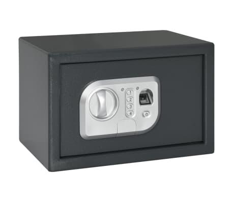vidaXL Skait. seifas su pirštų atsp. užrak., tams. pilk., 31x20x20cm[1/12]