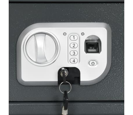 vidaXL Skait. seifas su pirštų atsp. užrak., tams. pilk., 31x20x20cm[8/12]