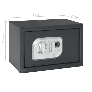vidaXL Skait. seifas su pirštų atsp. užrak., tams. pilk., 31x20x20cm[12/12]