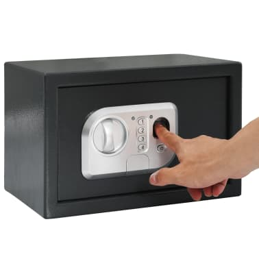 vidaXL Skait. seifas su pirštų atsp. užrak., tams. pilk., 31x20x20cm[10/12]