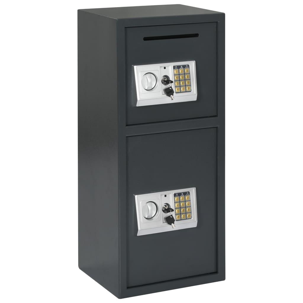 vidaXL Seif digital cu ușă dublă, gri închis, 35x31x80 cm poza vidaxl.ro
