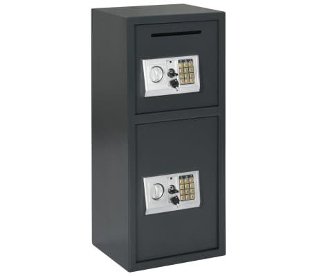 vidaXL Coffre-fort numérique avec porte double Gris foncé 35x31x80 cm