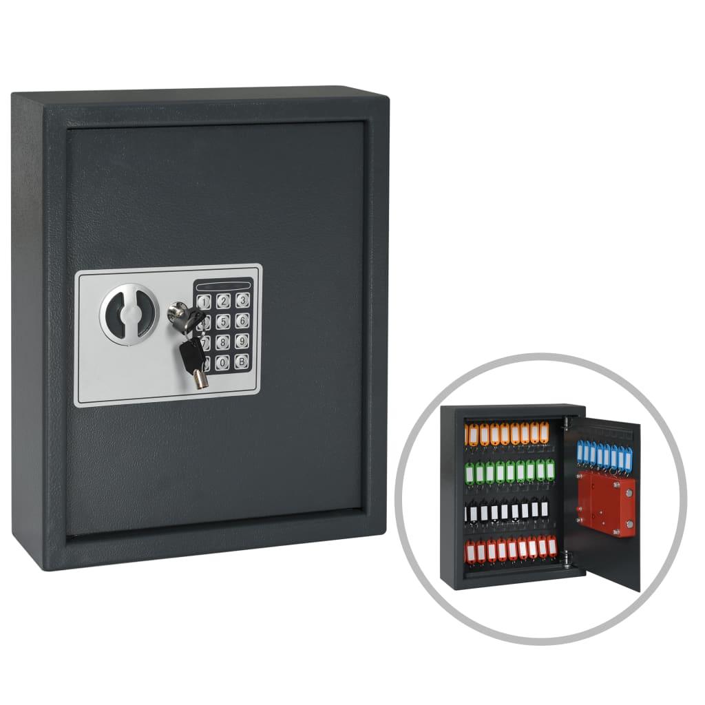 Trezor na klíče tmavě šedý 30 x 10 x 36,5 cm