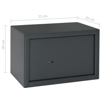 vidaXL Coffre-fort mécanique Gris foncé 31x20x20 cm Acier[10/10]