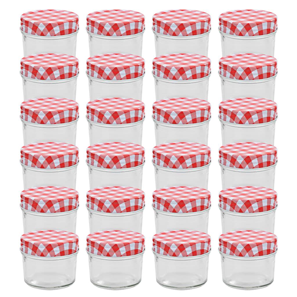 vidaXL Borcane sticlă pentru gem cu capace alb și roșu 24 buc. 110 ml imagine vidaxl.ro