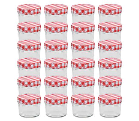 vidaXL Frascos de vidro com tampas brancas e vermelhas 24 pcs 110 ml
