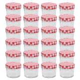 vidaXL Glass Jam Jars with White and Red Lids 24 pcs 110 ml