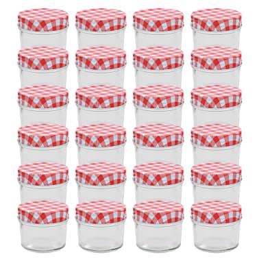 vidaXL Syltburkar i glas med vita och röda lock 24 st 110 ml[1/6]