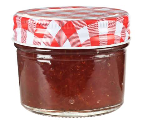 vidaXL Syltburkar i glas med vita och röda lock 24 st 110 ml[2/6]