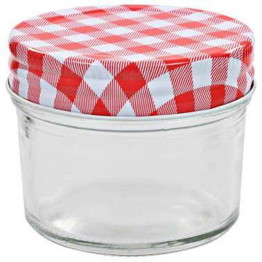 vidaXL Syltburkar i glas med vita och röda lock 24 st 110 ml[3/6]