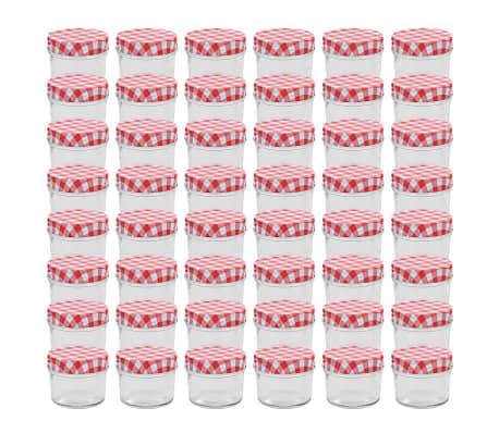 vidaXL Frascos de vidro com tampas brancas e vermelhas 48 pcs 110 ml