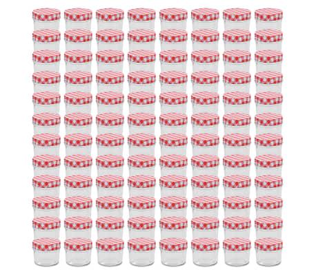 vidaXL Syltburkar i glas med vita och röda lock 96 st 110 ml