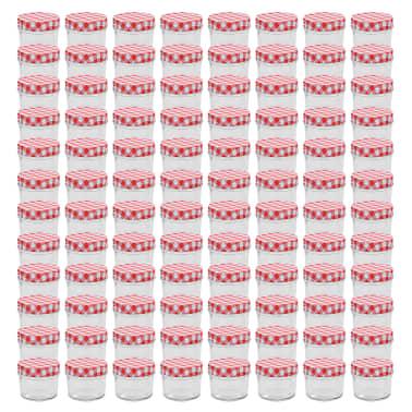 vidaXL Borcane de sticlă pentru gem capace alb și roșu, 96 buc, 110 ml[1/6]