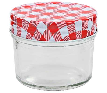vidaXL Borcane de sticlă pentru gem capace alb și roșu, 96 buc, 110 ml[3/6]