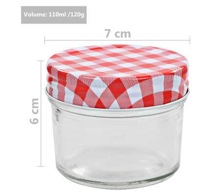 vidaXL Borcane de sticlă pentru gem capace alb și roșu, 96 buc, 110 ml[6/6]