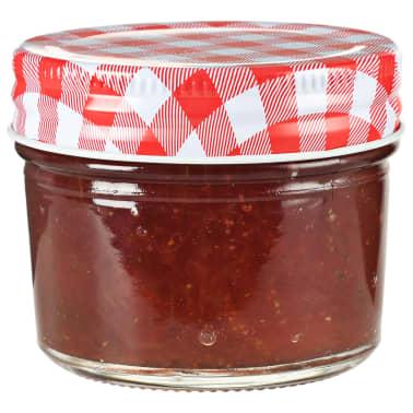 vidaXL Borcane de sticlă pentru gem capace alb și roșu, 96 buc, 110 ml[2/6]