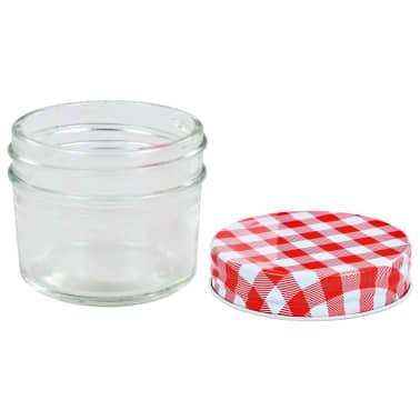 vidaXL Borcane de sticlă pentru gem capace alb și roșu, 96 buc, 110 ml[4/6]