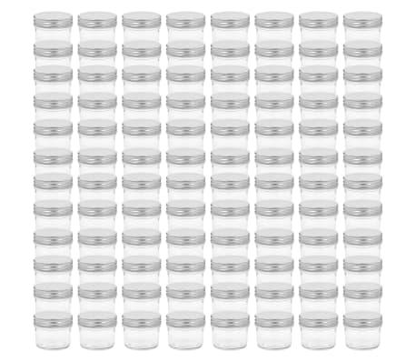 vidaXL Syltburkar i glas med silvriga lock 96 st 110 ml