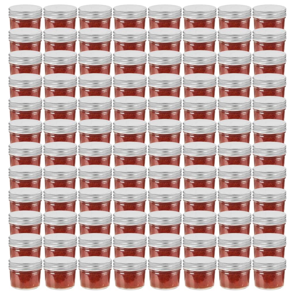 vidaXL Borcane din sticlă pentru gem, capace argintii, 96 buc, 110 ml imagine vidaxl.ro