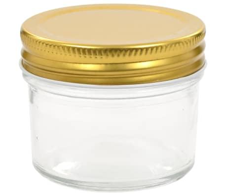 vidaXL Syltburkar i glas med guldfärgade lock 24 st 110 ml[4/7]