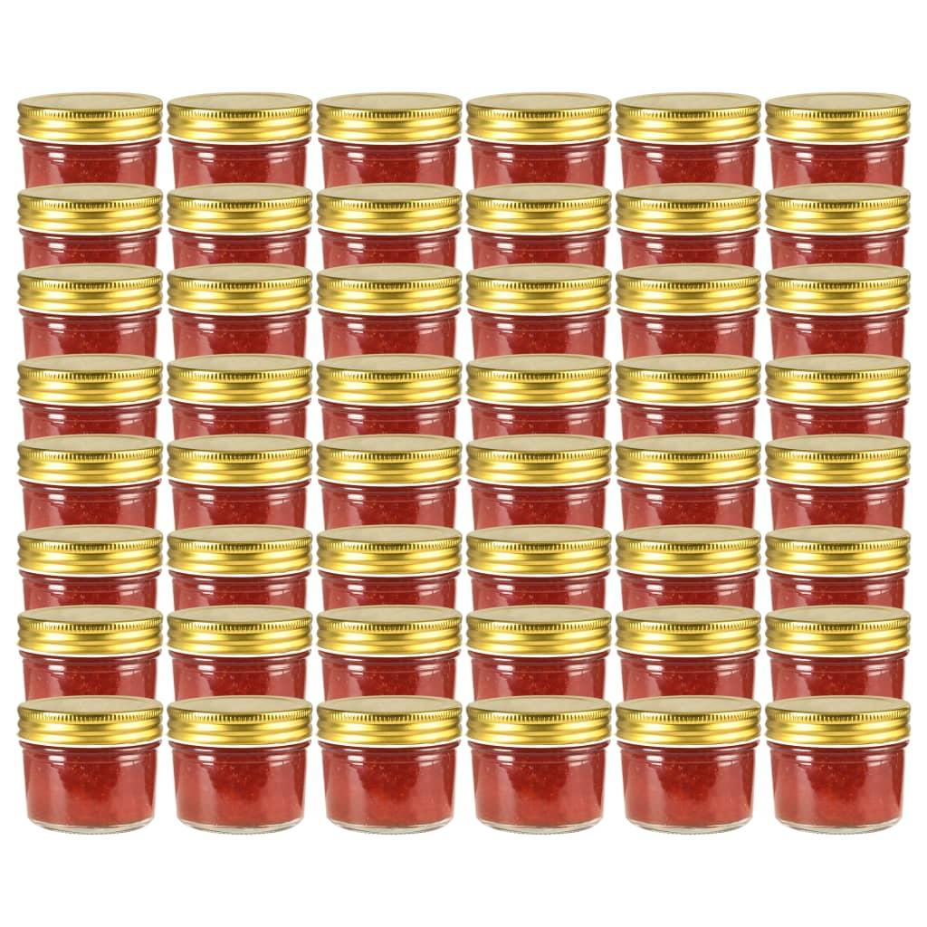 vidaXL Borcane din sticlă pentru gem, capace aurii, 48 buc, 110 ml imagine vidaxl.ro