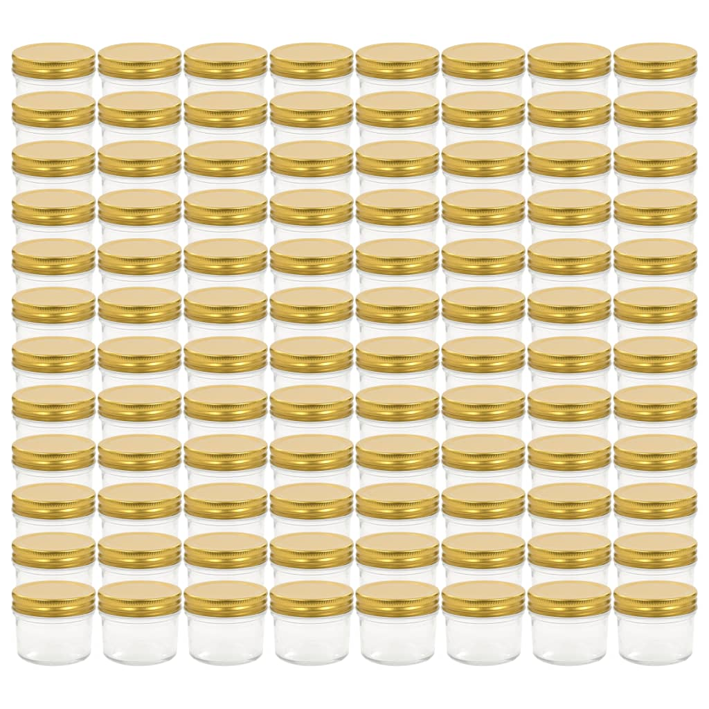 vidaXL Βάζα Μαρμελάδας 96 τεμ. 110 ml Γυάλινα με Χρυσά Καπάκια