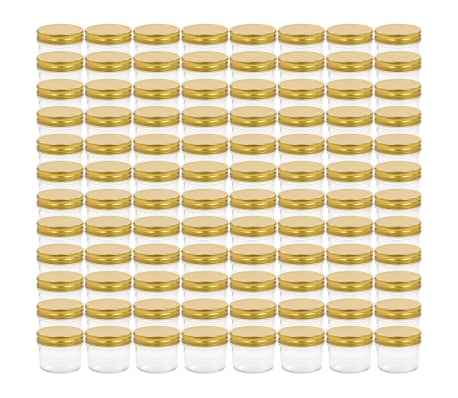 vidaXL Syltburkar i glas med guldfärgade lock 96 st 110 ml