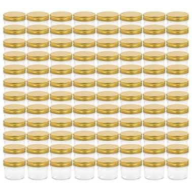 vidaXL Borcane din sticlă pentru gem, capace aurii, 96 buc, 110 ml[2/7]