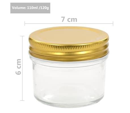 vidaXL Borcane din sticlă pentru gem, capace aurii, 96 buc, 110 ml[7/7]