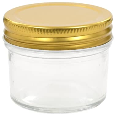 vidaXL Borcane din sticlă pentru gem, capace aurii, 96 buc, 110 ml[4/7]