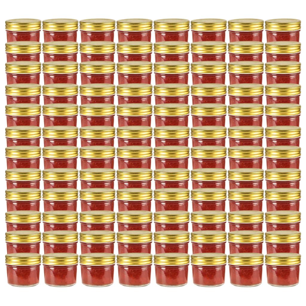 vidaXL Borcane din sticlă pentru gem, capace aurii, 96 buc, 110 ml imagine vidaxl.ro