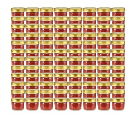vidaXL Borcane din sticlă pentru gem, capace aurii, 96 buc, 110 ml[1/7]