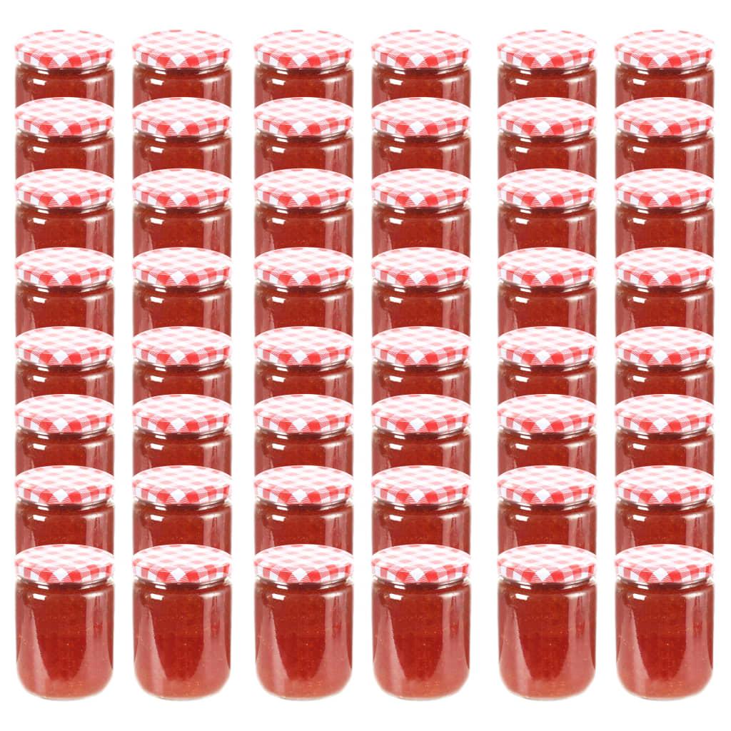 vidaXL Borcane de sticlă pentru gem capac alb și roșu, 48 buc, 230 ml imagine vidaxl.ro